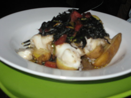 In Good Company: Cod w/fingerling potatoes + black trumpet mushrooms