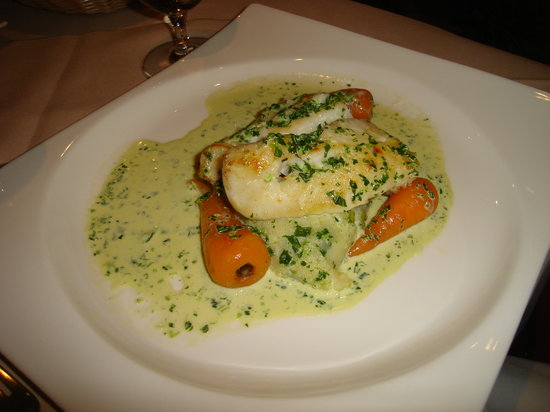 The Moorings Hotel : Cod with white wine and parsley sauce on spring onion mash