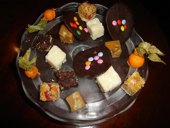 The Moorings Hotel: Homemade Petite Fours Walnut Fudge,Coconut Ice,Turkish Delight Physalis in Orange Chocolate Rock