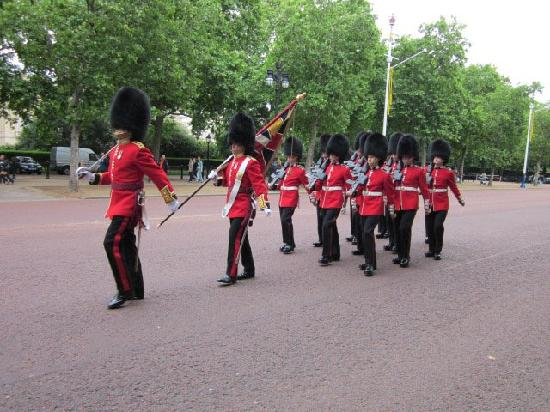 London Walks: Guards on duty, leaving their post(note Machine guns)