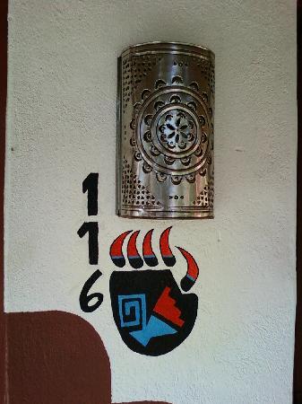 El Pueblo Lodge: our room number with quaint little fetish-type decoration