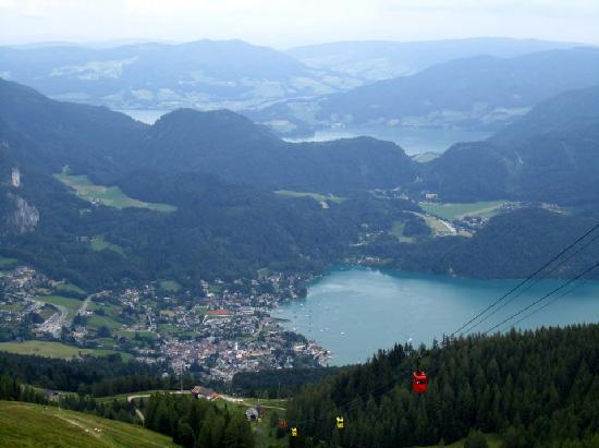 Zwolferhorn Cable Car: Looking down onto St. Gilgen