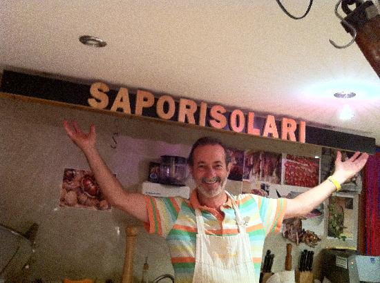 Sapori Solari: Proud owner behind the counter!