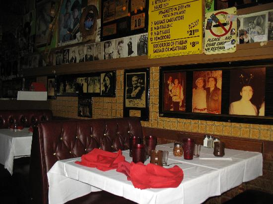 Battista's Hole in the Wall: More booths and menu on wall