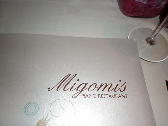 Migomis Piano Restaurant: the menu