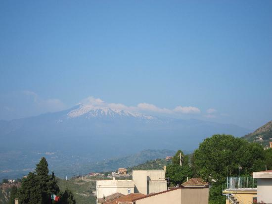 Mt. Etna from Hotel Continental's rooftop terrace