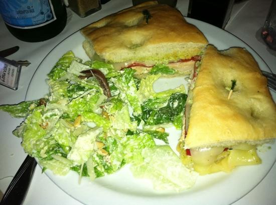 R & G Lounge: chicken panini & Cesar salad
