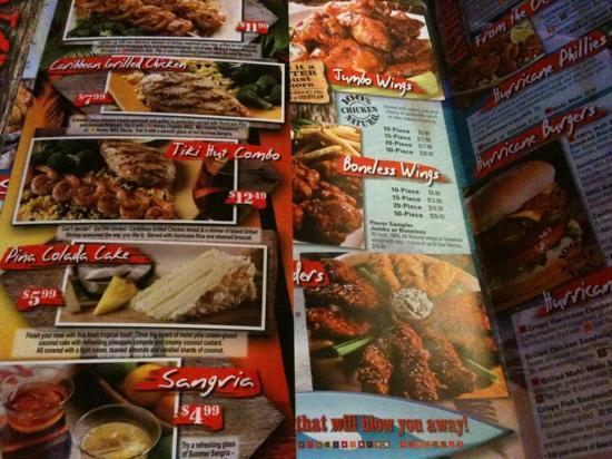 Hurricane Grill & Wings: the menu