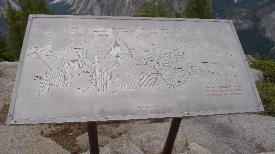 Glacier Point: Signpost identifying landmarks
