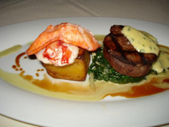 Hob Nob Restaurant: Beef Tenderloin and Poached Lobster