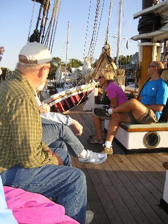 Schooner Appledore II Windjammer Cruise: Ample seating on the wide deck.