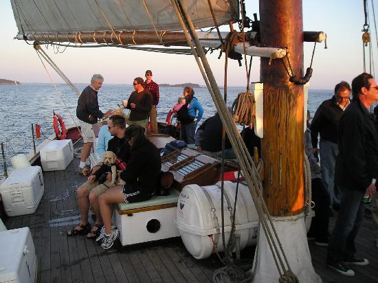 Schooner Appledore II Windjammer Cruise: Plenty of space to walk around the open deck.