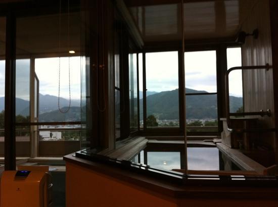 Hayamakan: 部屋からの景色 手前がお風呂
