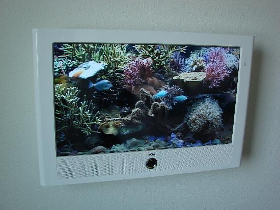 Motel One Berlin Mitte: Nice TV in room, when tv is on it has a screen saver that looks like a fish tank!