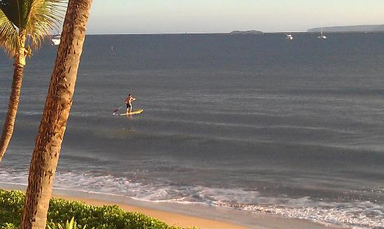Sugar Beach Resort: Watching a paddle surfer from the lanai
