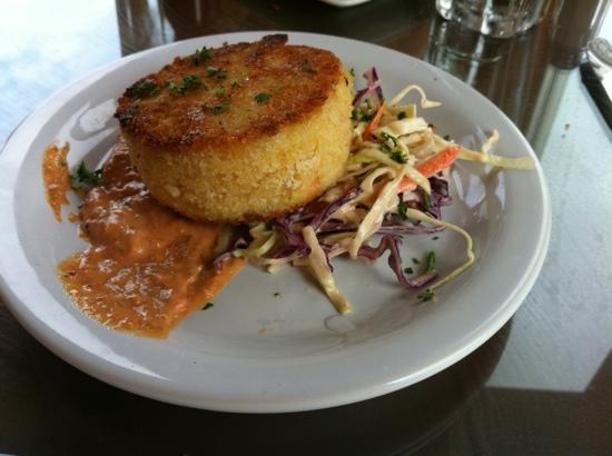 Newport's Historic Bayfront: the best crab cake with asian slaw