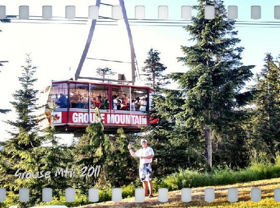 """Grouse Mountain Skyride: Jay """"The Funologist"""" infront of the Famous Grouse Skyride Tram"""