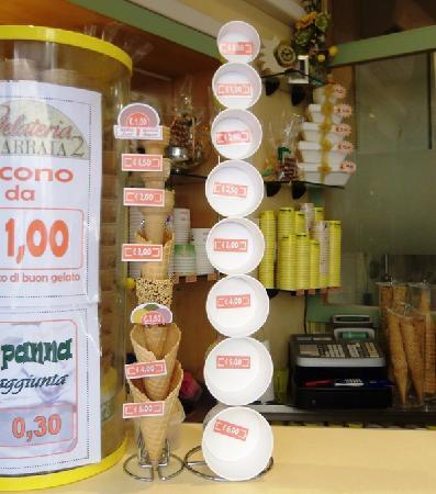 La Carraia Gelateria: Prices as of 22 Sep 2011