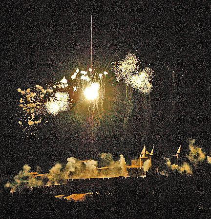 Carcassonne Guesthouse: July 14th Bastille Day from the terrace