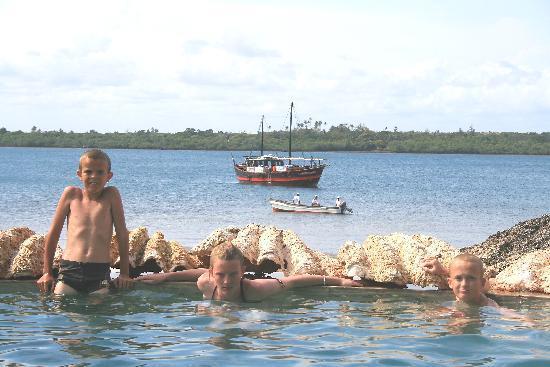 Diani Sea Lodge: Kids in the Salt Water Pool at Wasini Island