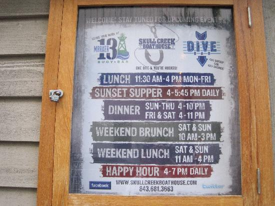 The Skull Creek Boathouse: Their hours
