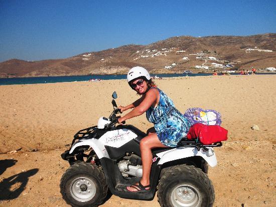 Ftelia Beach: Narrow road provides access to beach via motor bike or ATV.