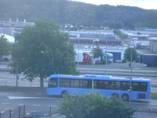 Scandic Backadal: View of the Bus-stop from the hotel room