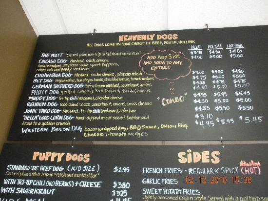 Heavenly Dog Hot Dogs: Menu Board