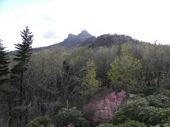 Grandfather Mountain: a view of the peak from farther down