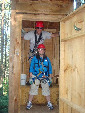 Bretton Woods: Our group even had fun with the outhouse at midpoint!
