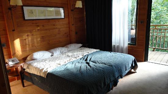 Hotel des Trois Hiboux: Le lit King Size qui etait enfaîte deux lit côte à côte