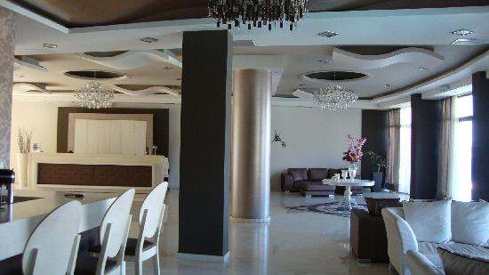 Evia Hotel & Suites: The lobby and reception area