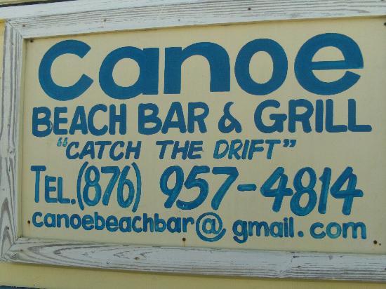 CANOE BAR SIGN & INFO