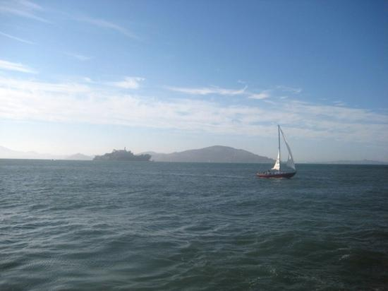 San Francisco Bay: View of Alcatraz and the Bay around sunset.