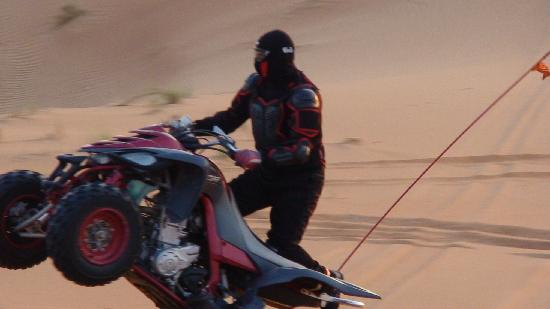 Lama Desert Tours & Cruises L.L.C.: rider performing stunts on desert bike