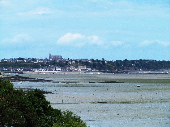 Le Restaurant de Coquillage: A little foggy--but that is the village of Cancale as  seen  from  the restaurant