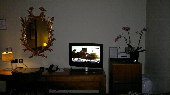 Fitzwilliam Hotel Dublin: TV & gold mirror!