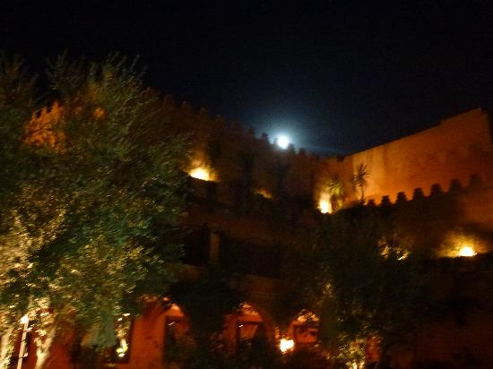 La Maison Arabe: View from the restaurant, with moon rising