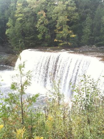 Tahquamenon Falls State Park: Lower falls from observation deck that involves stairs