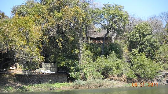 Tongabezi: View of Honeymoon House from river