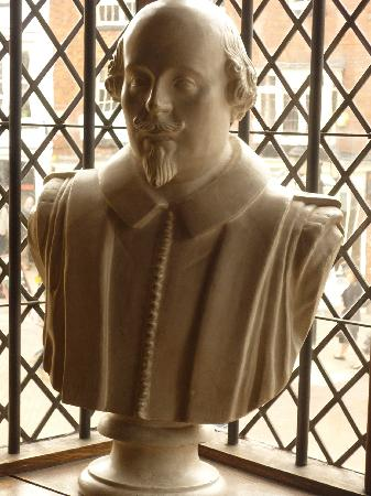 Shakespeare's Birthplace: A bust of William Shakespeare