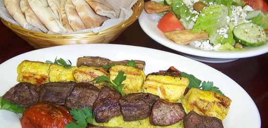 Cafe Sababa - Mediterranean Grill: Kabob Combo with Pita and Salad