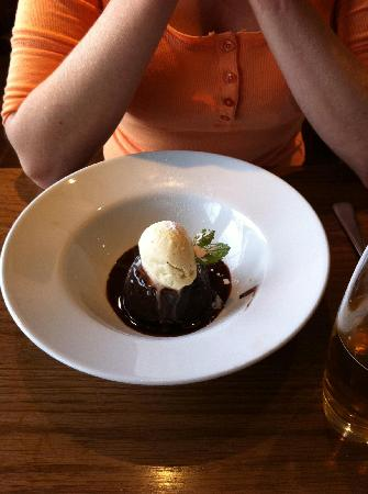 Piccolino: . Chocolate fudge pudding, vanilla ice cream