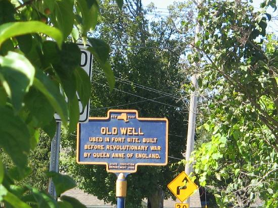 """Burch Family Restaurant: Historic Marker for the """"Old Well"""" dating to early 18th century"""