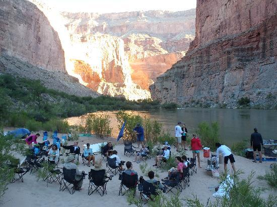 Arizona Raft Adventures: Camp at the end of the day