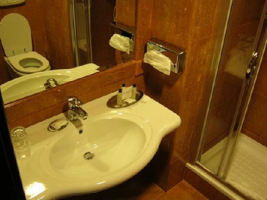 โรงแรมโรม มาร์ริออทท์พาร์ค: First bathroom, where the toilet and bidet are - along with the shower.