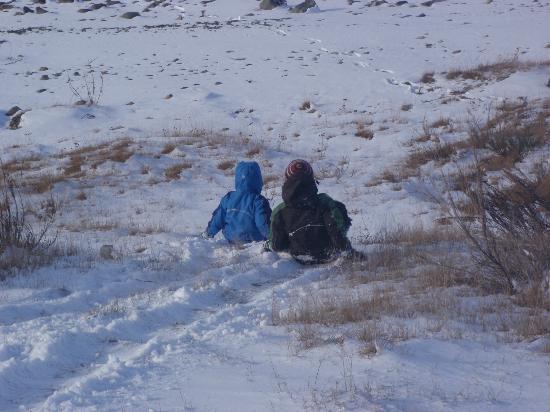 Parkbrae Estate: Snowsliding at the lake outlet