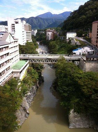 Kinugawa Plaza Hotel: 部屋からの眺望。まるで鬼怒川が旅館の下を通っているみたい。