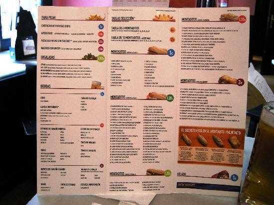 Cerveceria 100 Montaditos: Il menù in spagnolo o in inglese