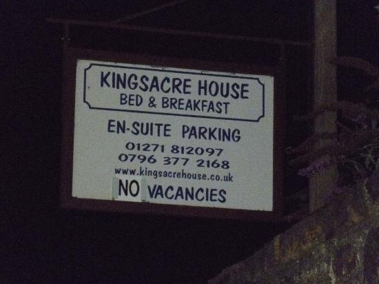 Kingsacre House B&B: No vacancies